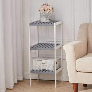 3 Tiers Corner Shelf Unit Storage Bookshelf Shelving, White and Grey