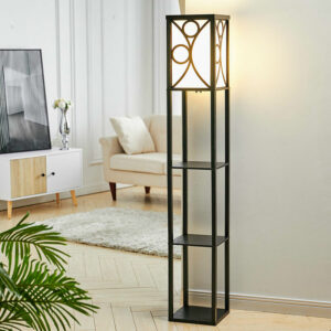 3-in-1 Wooden & Linen Floor Lamp with Shelves Units,Black Geometric Pattern