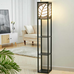 3-in-1 Wooden & Linen Floor Lamp with Shelves Units,Black Leaves