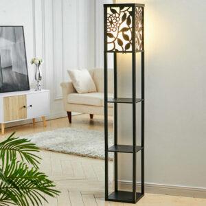 3-in-1 Wooden & Linen Floor Lamp with Shelves Units,Black Vines