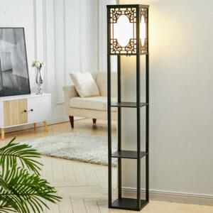 3-in-1 Wooden & Linen Floor Lamp with Shelves Units,Black Window