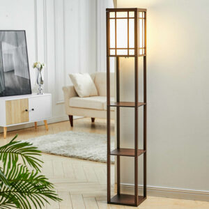 3-in-1 Wooden & Linen Floor Lamp with Shelves Units,Walnut Checkered