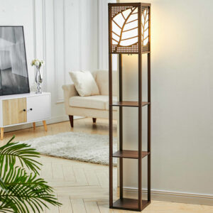3-in-1 Wooden & Linen Floor Lamp with Shelves Units,Walnut Leaves