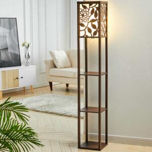 3-in-1 Wooden & Linen Floor Lamp with Shelves Units,Walnut Vines