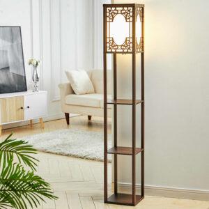 3-in-1 Wooden & Linen Floor Lamp with Shelves Units,Walnut Window