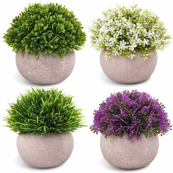 4 Packs Artificial Mini Potted Plants Plastic Faux Topiary Shrubs Fake Plants for Bathroom Home Office Desk Decoration