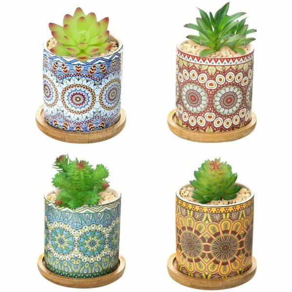 4 Pieces Succulent Pot Mandala Pattern Ceramic Pot Small Plant with Tray Mini Flowerpot for Balcony Home Office Deco (4 pieces)