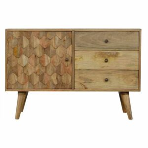 Artisan - 3 Drawer Solid Wood Cabinet with Pineapple Carved Door Front
