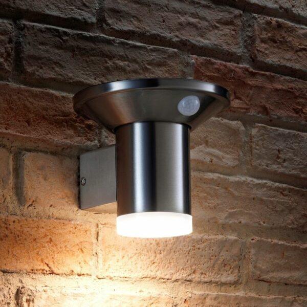 Auraglow Solar Powered Dusk to Dawn and PIR Sensor Wireless Outdoor Garden Security LED Wall Light Cylinder Sconce Design - Silver