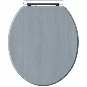 . Beaumont powder blue wooden toilet seat - The Bath Co