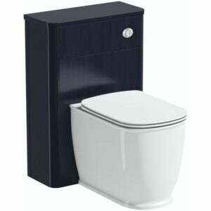 . Beaumont sapphire blue back to wall unit and toilet with slim soft close seat - The Bath Co