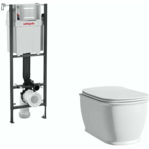 . Beaumont wall hung toilet with soft close seat and wall mounting frame with push plate cistern - The Bath Co