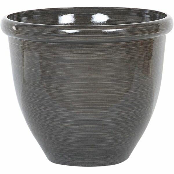 Beliani - Modern Round Garden Flower Pot Planter High Gloss Stone 45 x 40 cm Brown Tesalia