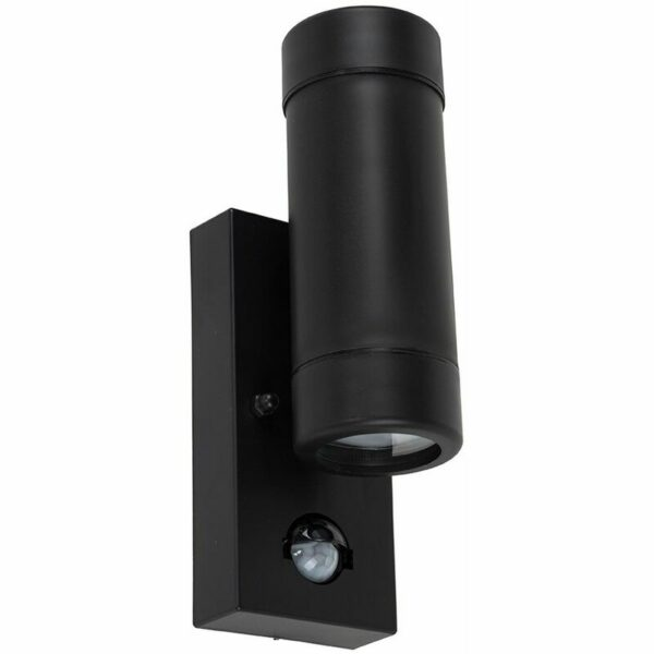 Black IP44 Rated Outdoor Garden Up / Down Wall Light With Pir Motion Sensor - Add LED Bulbs