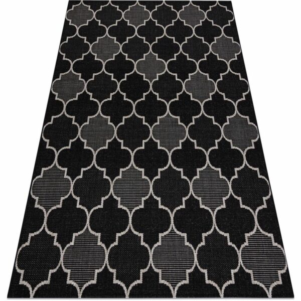 CARPET SIZAL FLOORLUX 20607 Moroccan trellis black / silver Black 80x150 cm