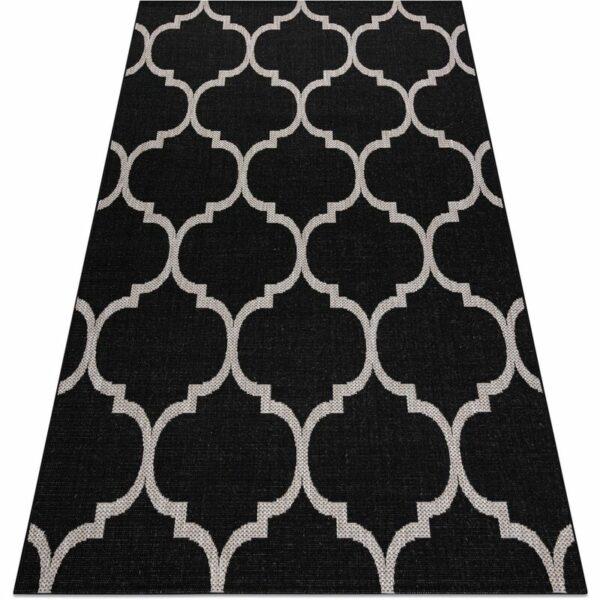 CARPET SIZAL FLOORLUX 20608 Moroccan trellis black / silver Black 60x110 cm