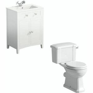 . Camberley close coupled toilet and white vanity unit suite 600mm - The Bath Co
