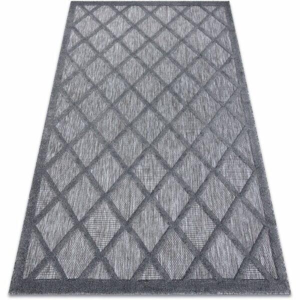 Carpet SANTO SISAL 58365 trellis anthracite Shades of grey and silver 80x150 cm