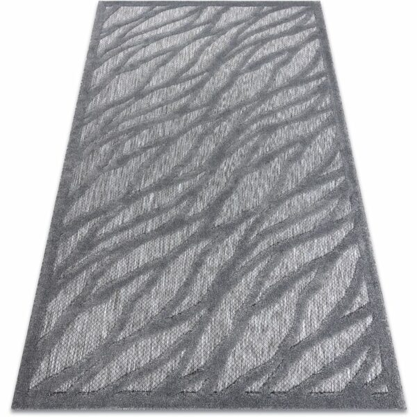 Carpet SANTO SISAL 58387 leaves trellis anthracite Shades of grey and silver 180x270 cm