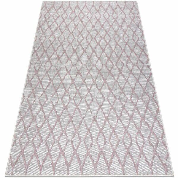 Carpet SISAL SION Trellis 22129 Flat woven ecru / pink Shades of pink 200x290 cm