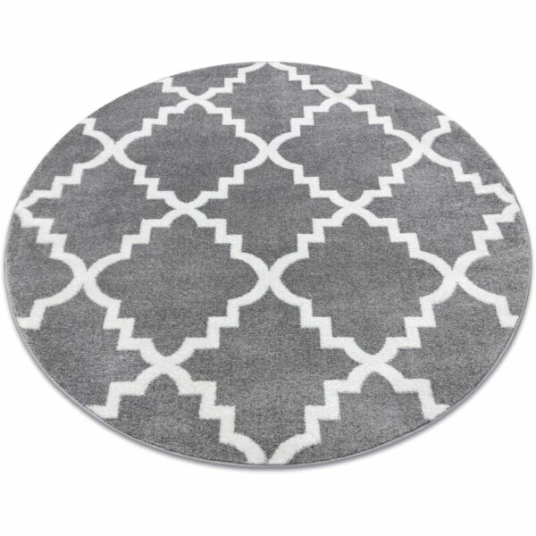 Carpet SKETCH circle - F343 grey /white trellis Shades of grey and silver round 100 cm