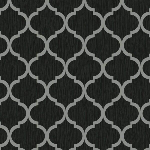 Debona Geo Wallpaper Metallic Smooth Textured Apex Triangles Trellis Diamonds - Black