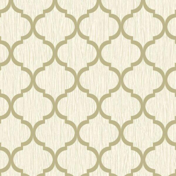 Debona Geo Wallpaper Metallic Smooth Textured Apex Triangles Trellis Diamonds - Ivory