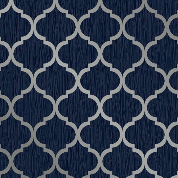 Debona Geo Wallpaper Metallic Smooth Textured Apex Triangles Trellis Diamonds - Navy