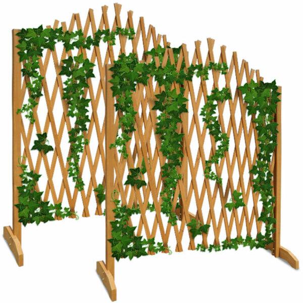 Expanding Trellis Fence 180x107cm Freestanding Wooden Garden Arched Plant Growing Support Screen (2x) - Deuba