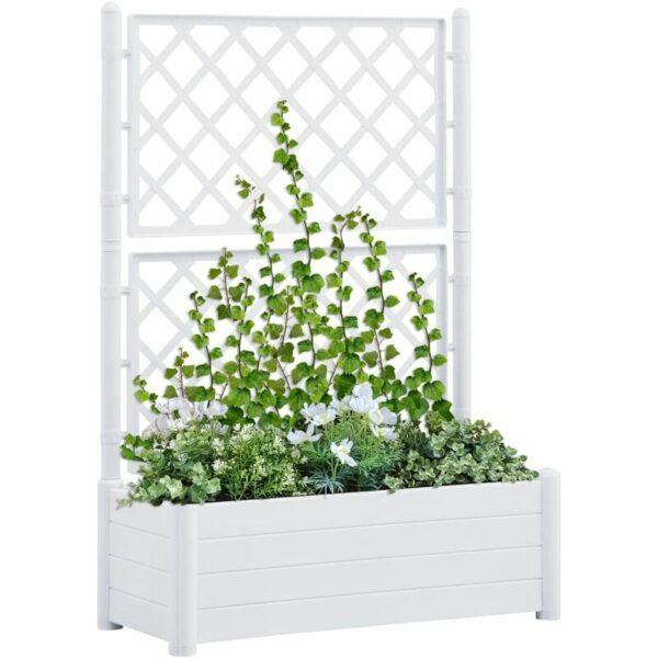 Garden Planter with Trellis 100x43x142 cm PP White - White - Vidaxl