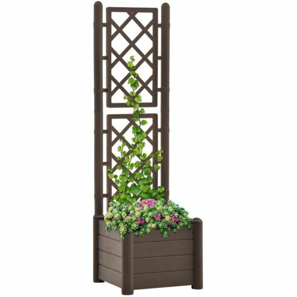 Garden Planter with Trellis 43x43x142 cm PP Mocha - Brown - Vidaxl