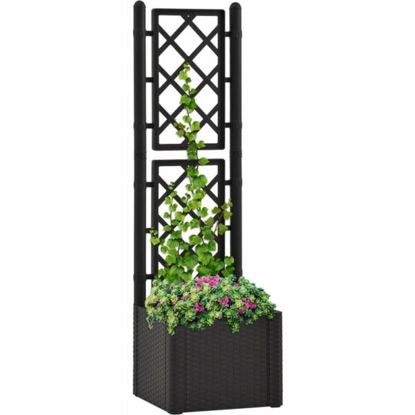 Garden Raised Bed with Trellis and Self Watering System Anthracite - Anthracite - Vidaxl