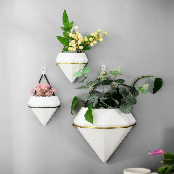 Livingandhome - Wall Hanging Geometric Green Plants Planter Box Pot Flower Holder, Black Small