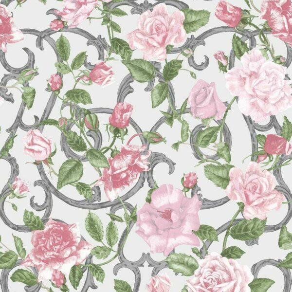Muriva - Rose Trellis Floral Wallpaper Pink Green Silver Metallic Garden Flower