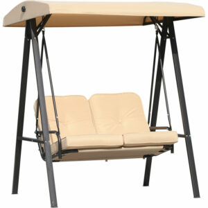Outsunny 2 Seater Garden Swing Chair Outdoor Cushioned Bench - Light Brown