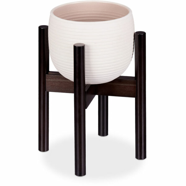 Relaxdays Bamboo Plant Stand, Adjustable, Flower Pots max. 32 cm, Pot Support, H: 35.5 cm, Brown