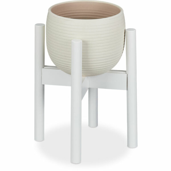 Relaxdays Bamboo Plant Stand, Adjustable, Flower Pots max. 32 cm, Pot Support, H: 35.5 cm, White