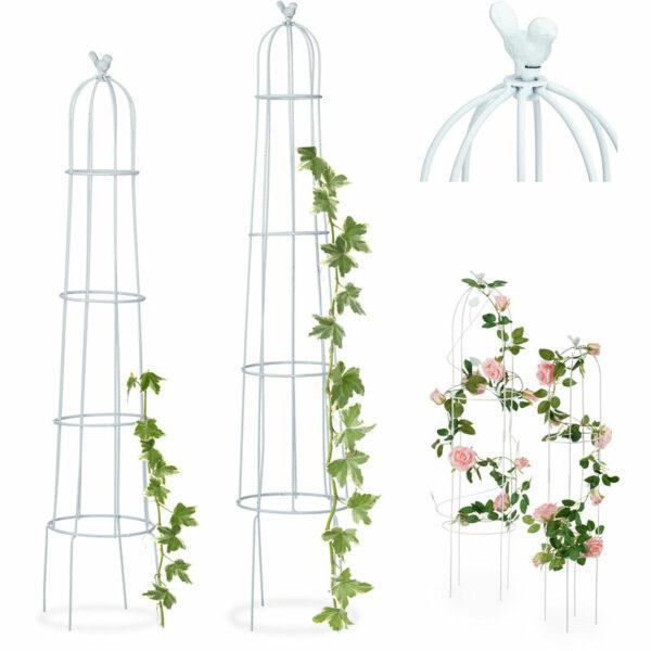 Relaxdays Growth Support, Set of 2, Round, Freestanding, Weatherproof Trellis, H: 113 cm & 103 cm, White