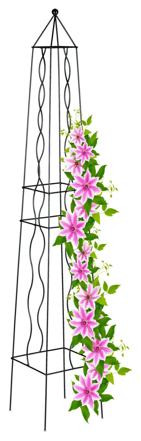 Relaxdays garden obelisk, metal trellis, climbing aid for plants, growing frame, weatherproof, steel, 122 cm (H), black