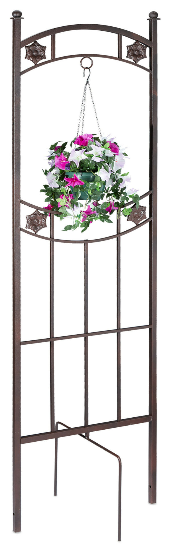 Relaxdays garden trellis, with ring hanging feature, climbing frame, growth support, 52 x 43.5 x 182 cm (LxWxH), brown
