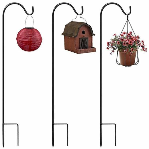 Set of 2 Metal Garden Hooks with Hook for Solar Lights, Lanterns, Christmas Lights, Flower Baskets, Flower Balls, 100cm