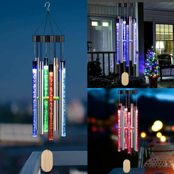 Solar Wind Chimes Light Outdoor, Memorial Wind Chimes with Colorful Light, Christmas/Housewarming Gift, Garden, Yard, Home Decor