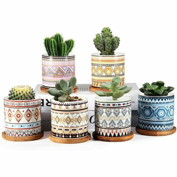 Succulent Planter, 3 inch Ceramic Mini Succulent Pots, Mandala Pattern Round Small Flower Pots with Drainage and Bamboo Tray, Pack of 6 - Plants Not