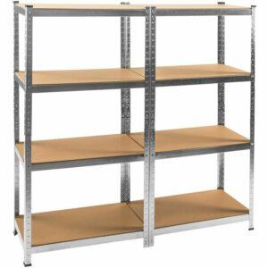 Tectake - 2x Garage shelving unit heavy duty 4 tier - metal shelving, garage storage, shed shelving - brown