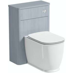 The Bath Co. Beaumont powder blue back to wall unit and toilet with slim soft close seat