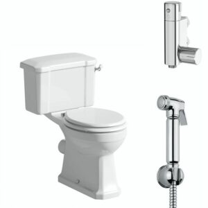 The Bath Co. Camberley close coupled toilet with douche kit and wooden soft close seat white