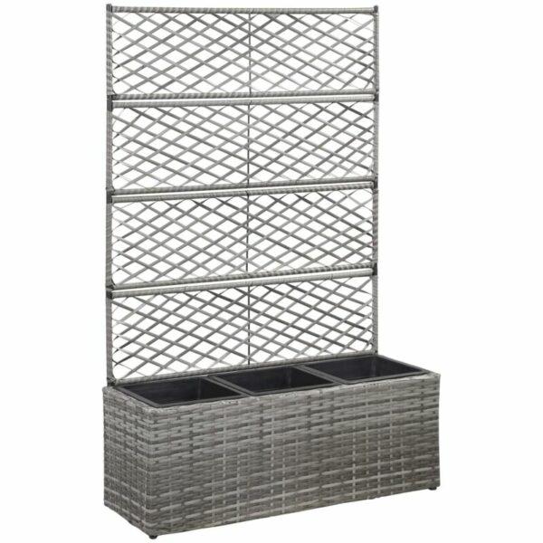 Trellis Raised Bed with 3 Pots 83x30x130 cm Poly Rattan Grey - Grey - Vidaxl