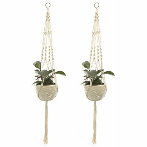 Zqyrlar - 2Pcs Macrame Plant Hangers Indoor Outdoor Hanging Planter Basket Cotton Rope Hand-knitted flower pot net bag, style 2