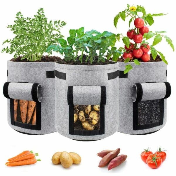 Zqyrlar - Potato planting bags, pack of 3, thickened fabric pots, garden, vegetables, planting bag with handles and Velcro window, gray