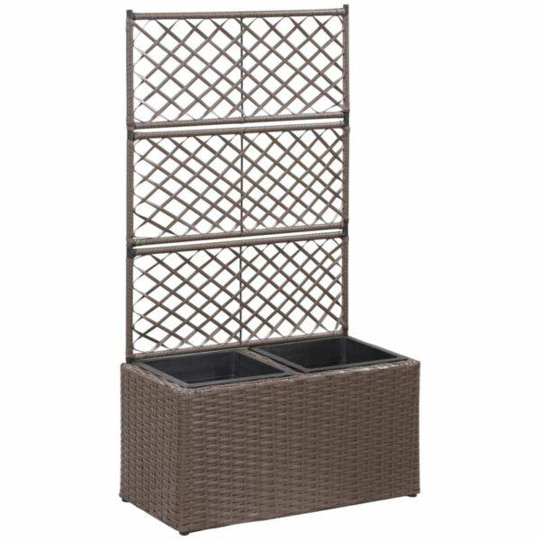 Zqyrlar - Trellis Raised Bed with 2 Pots 58x30x107 cm Poly Rattan Brown - Brown